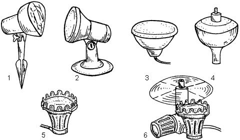 Рис. 71. Виды светильников: 1 – светильник с заостренным концом (используется для освещения возле пруда); 2 – светильник на подставке (служит для освещения пруда); 3 – светильник для воды; 4 – фонтан со встроенной лампой; 5 – подводный прожектор (для подсветки фонтанов, водопадов, прудов); 6 – светильник с изменяющейся подсветкой