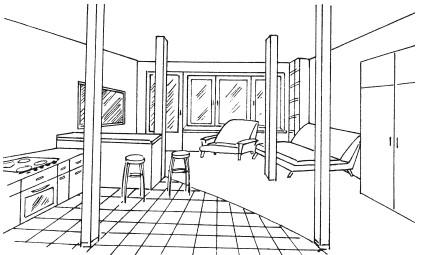 Рис.2. Образец интерьера в стиле лофт