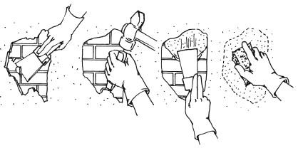 Рис.33. Последовательность операций при ремонте оштукатуренных стен
