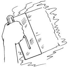 Рис 38. Разравнивание штукатурки по поверхности стены