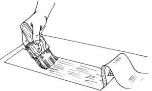 Рис.41. Нанесение клея на полосу бордюра
