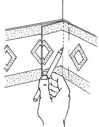 Рис.44. Нанесение линии угла на полосе бордюра