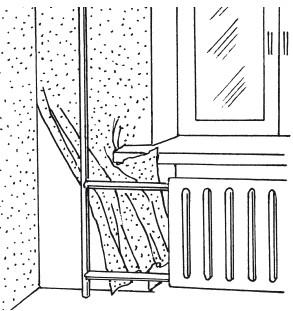 Рис.48. Оклейка стены за трубами отопления