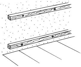 Рис.60. Закрепление на стене деревянных реек
