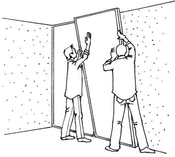 Рис.74. Облицовка стен бескаркасным методом