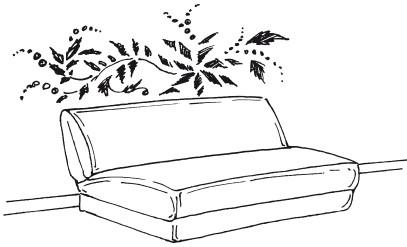 Рис.115. Растительный орнамент на стене гостиной, выполненный с помощью трафарета