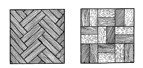 Рис. 27. Настилка паркета: 1 – квадрат; 2 – по диагонали; 3 – с фризом; 4 – с усложненными рисунками