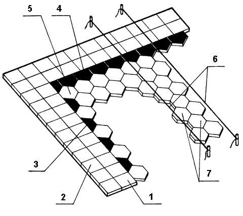 Рис. 18. Облицовка поверхности шестигранными плитками: