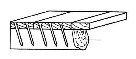 Рис. 26. Настилка дощатого пола по лагам