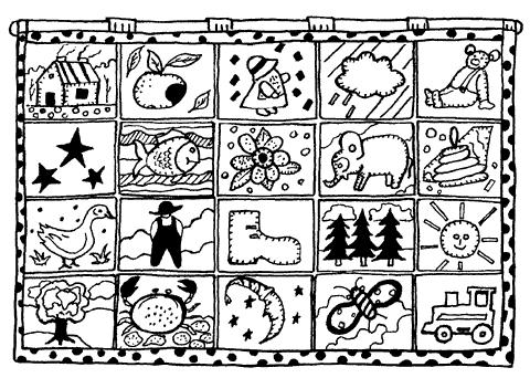 Рис. 67. Настенный коврик из квадратов