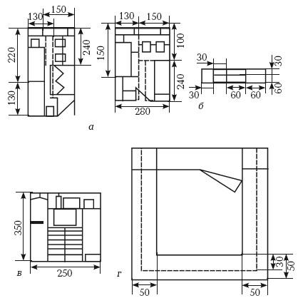 Рис. 3. Функционально-планировочная организация комнат общего пользования: а) пример планировочной организации личных помещений на 1 человека; б) встроенные шкафы; в) гардероб; г) функциональная зона сна