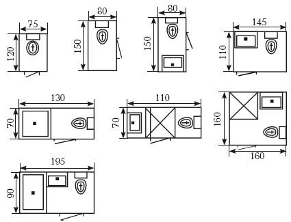 Рис. 5. Возможные варианты планировки санитарно-гигиенических помещений