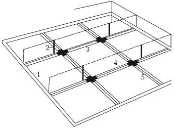 Рис. 33. Последовательность монтажа подвесных потолков: 1 – прикручивание крайних профилей; 2 – прикручивание петель к потолку; 3 – установка несущих профилей; 4 – монтаж соединительных креплений; 5 – прикручивание поперечных профилей