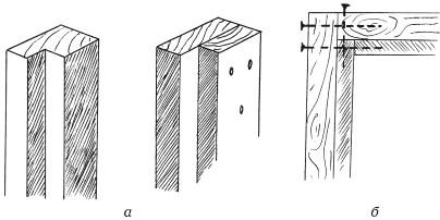 Рис. 34. Изготовление дверной коробки: а) бруски коробки; б) соединение деталей коробки между собой с помощью гвоздей