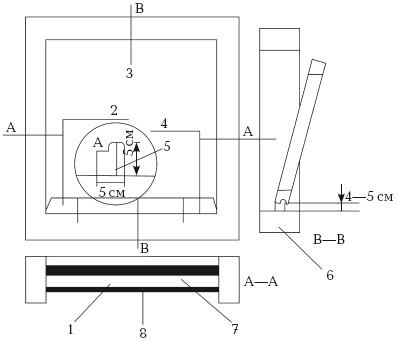 Рис. 42. Установка окна на монтажной колодке: 1, 2, 6 – монтажная колодка; 3 – оконный проем без четверти; 4, 8 – гидроизоляция; 5 – крепление колодки; 7 – дюбель