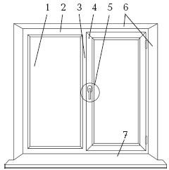 Рис. 46. Элементы пластикового окна: 1 – стеклопакет; 2 – рама; 3 – импост; 4 – створка; 5 – фурнитура; 6 – откос; 7 – подоконник