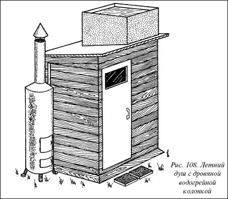Летний душ с подогревом на дровах своими руками 6