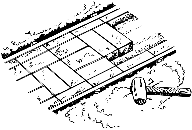 Рисунок 17. Укладка дорожки из кирпича