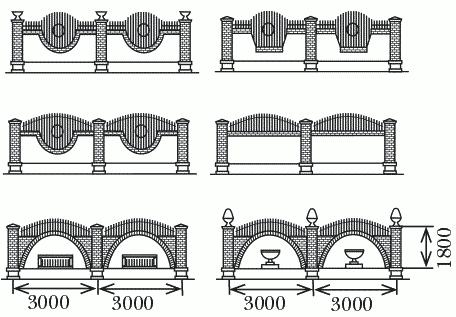 Рисунок 13. Кирпичный забор с коваными кольями (размеры указаны в миллиметрах)