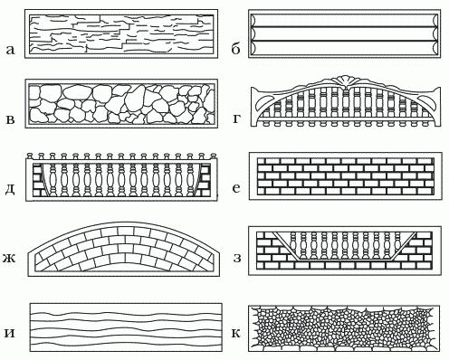 Рисунок 16. Внешний вид панелей: а – сланец; б – сруб бревенчатый; в – бут; г, д – декоративный вверх; е, ж, з – кирпич; и – доска внахлест; к – щебень