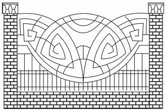 Рисунок 20. Металлическая ограда с кирпичными столбами и цоколем