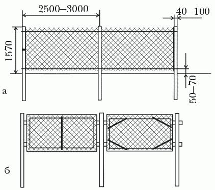 Рисунок 30. Схематическое изображение забора с сеткой-рабицей: а – забор из сплошного полотна; б – секционный забор (размеры указаны в миллиметрах)