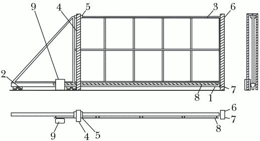 Рисунок 40. Схема устройства откатных ворот: 1 – несущий профиль; 2 – несущая роликовая тележка; 3 – полотно ворот; 4 – опорный столб; 5 – плато от бокового качения; 6 – ответный столб; 7 – нижний уловитель; 8 – зубчатая рейка; 9 – электропривод