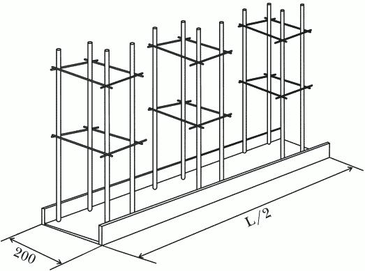 Рисунок 49. Каркас для фундамента под откатные ворота