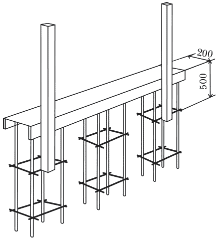 Рисунок 51. Скрепление столбов и каркаса (размеры указаны в миллиметрах)