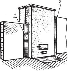 Рис. 4.1.6. Устройство вертикальной разделки между печью и деревянной перегородкой: