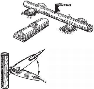 Рис. 4.2.3. «Козлы» для обработки брёвен Черта для разметки чаши