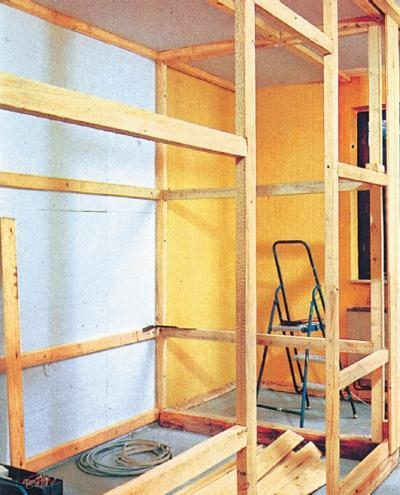 Фото 4.4.4. При примыкании к стенам и потолку капитального помещения каркас получается очень жестким
