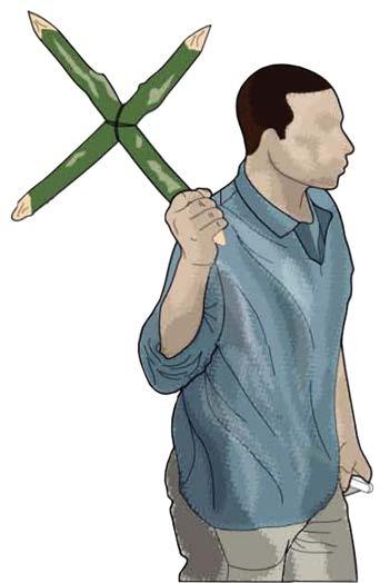 Рис.3.12. Приспособление для охоты с помощью перекрестных заостренных палок